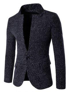 Stand Collar One Button Design Woolen Blazer - Black M