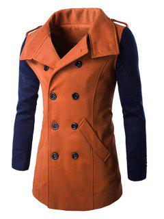 Double-Breasted Turn-Down Collar Color Block Splicing Woolen Coat - Orange L