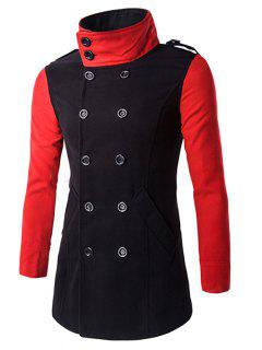 Double-Breasted Turn-Down Collar Color Block Splicing Woolen Coat - Black 3xl