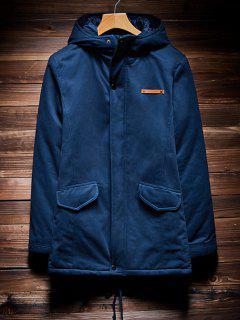 Zip Up Drawstring Hem Hooded Quilted Coat - Cadetblue 4xl