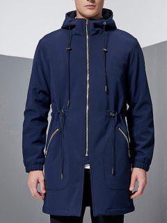 Hooded Lengthen Drawstring Zip-Up Coat - Sapphire Blue 2xl