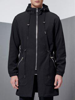 Hooded Lengthen Drawstring Zip-Up Coat - Black Xl