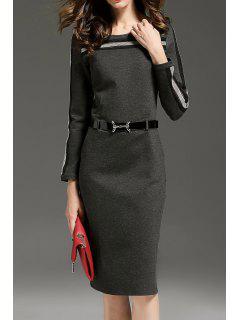 Vestido Con Cinturón De Trabajo De Rayas - Gris Oscuro S