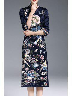 Three Quarter Sleeve Embroidered Slit Dress - Purplish Blue 2xl