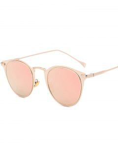 Metal Cat Eye Mirrored Sunglasses - Pink