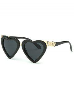 Metal Match Heart Shape Sunglasses - Black