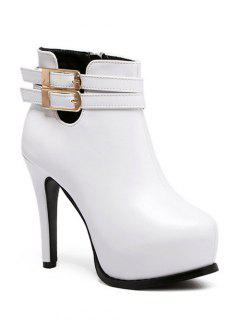 Double Buckle Stiletto Heel Ankle Boots - White 39