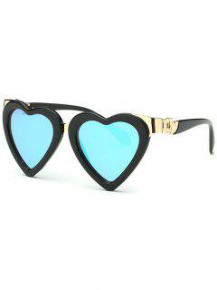 Heart Mirrored Sunglasses - Ice Blue