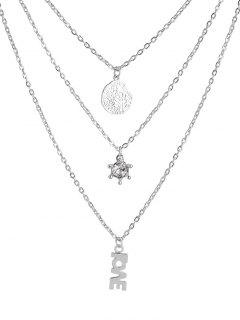 Multilayer Letters Rhinestone Life Tree Necklace - Silver
