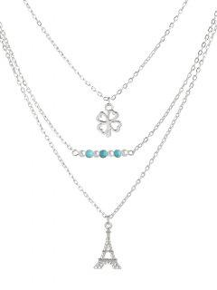 Eiffel Tower Clover Beads Layered Necklace - Silver