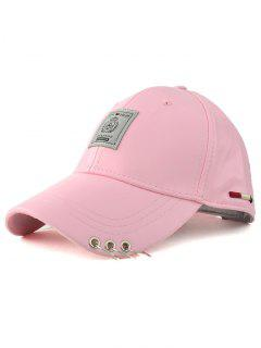 Label Circle Hoop PU Baseball Hat - Pink