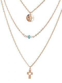 Hollowed Cross Bead Round Layered Necklace - Golden