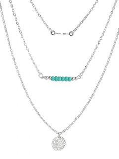 Coin Beads Bar Layered Necklace - Silver