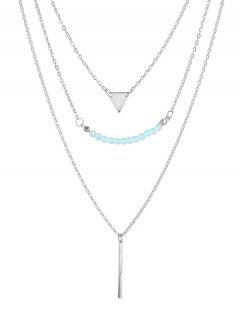 Beaded Bar Triangle Pendant Necklace - Silver