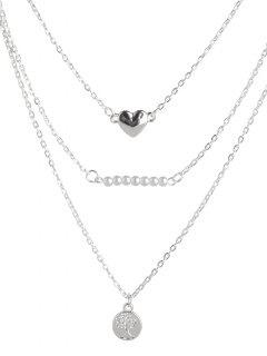 Beads Heart Life Tree Layered Necklace - Silver