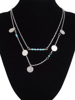 Sequin Beaded Pendant Necklace - Silver