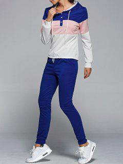Color Block Hoodie And Drawstring Pants - Blue 2xl