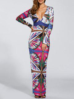 Printed Deep V Neck Prom Dress - S