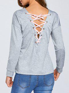 Con Cordones De La Camiseta Floja - Gris L