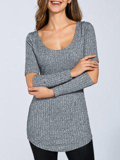Ribbed Cutout Sleeve Sweater - Gray Xl