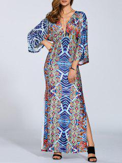Printed Maxi Kaftan Dresss - S