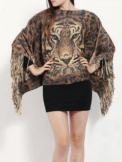 Tiger Head Tassel Poncho - Brown
