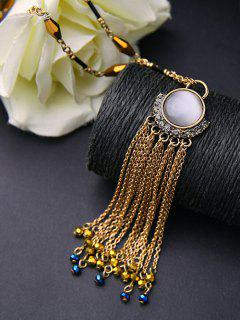 Rhinestone Tassel Chains Faux Opal Necklace - Golden