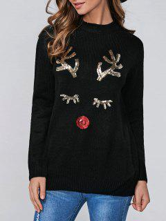 Christmas Sequined Deer Pullover Sweater - Black