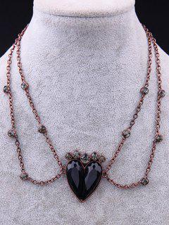 Vintage Alloy Rhinestone Heart Necklace - Rose Gold