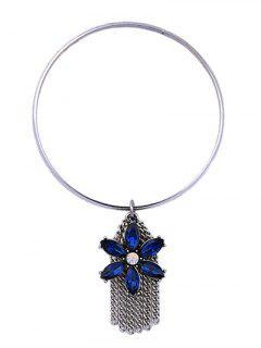 Tassel Chains Faux Sapphire Flower Bracelet - Silver