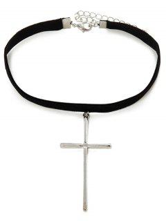 Faux Leather Velvet Crucifix Choker - Black