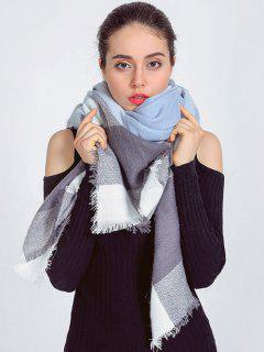 Plaid Fringed Autumn Scarf - Light Blue