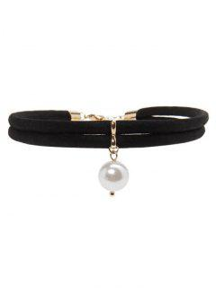 Faux Leather Pearl Choker - Black