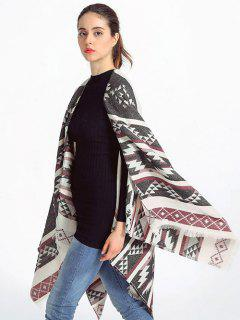 Geometry Fringed Wrap Pashmina - Deep Gray