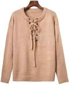 Solid Color Long Sleeve Lace Up Sweater - Apricot