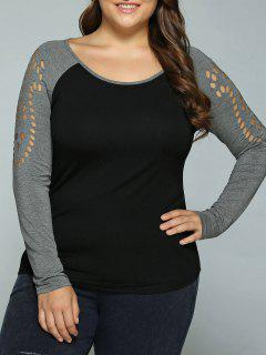 Plus Size Raglan Sleeves Hollow Out T-Shirt - Black And Grey 2xl