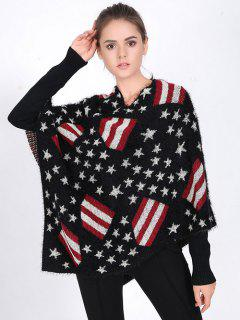 USA Flag Sweater Poncho - Black