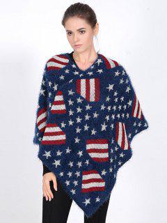 USA Flag Sweater Poncho - Blue