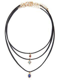 Faux Gem Leather Velvet Choker Set - Black