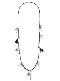 Heart Lock Pentagram Key Sweater Chain - Silver