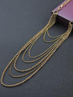 Multilayered Tassel Chains Necklace - Golden