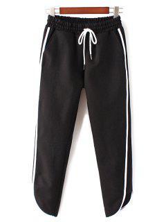 Elastic Waist Side Stripe Jogging Pants - Black S