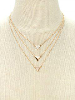 Collier Superposé Pandentif Triangle Avec Strass - Or