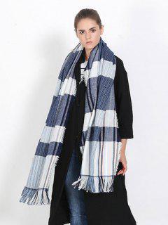 Vertical Stripe Tassel Scarf - Blue