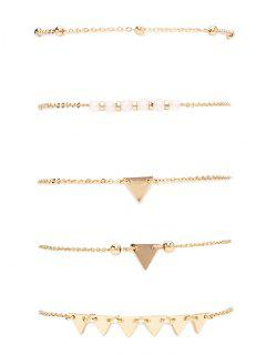 Alloy Beads Triangle Bracelet Set - Golden