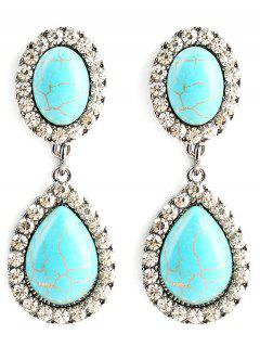 Faux Turquoise Layered Water Drop Earrings - Green