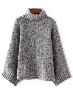 Sweater Manches Dolman Oversize Bigarré - Noir Et Gris