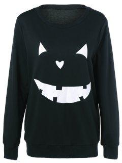 Halloween Grimace Print Sweatshirt - Black M