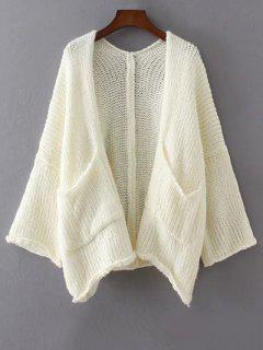Dépouillé épaule Ouverte Avant Cardigan - Blanc