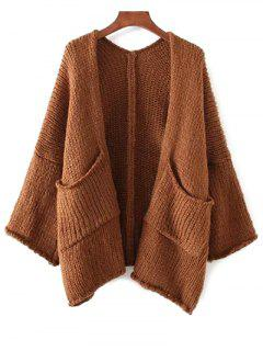 Dropped Shoulder Open Front Cardigan - Coffee